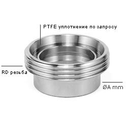 Соединение DIN 11851 тип SUD-MWH — фитинг c наружной резьбой RD, хвостовик  под сварку