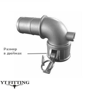 Камлок тип 90 градусов — переходник поворотный муфта на хвостовик под шланг