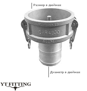 Камлок тип CR — переходник муфта на хвостовик под шланг