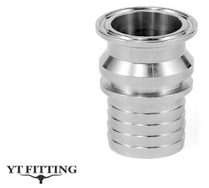 Соединение Tri clamp тип SUT-RH — фитинг с ребристым патрубком и буртиком под шланг