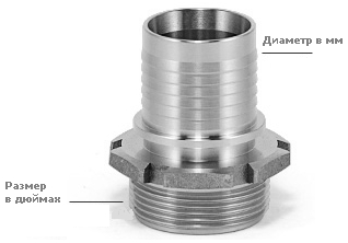 Наружная резьба BSP-P × ребристый патрубок с буртиком под шланг (GASC)